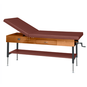 "Wooden Treatment Table - Manual Hi-Low Shelf - 78""L x 30""W x 25""-33""H dark chestnut"