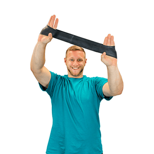 "men using the CanDo Band Exercise Loop - 10"" Long black x-heavy"