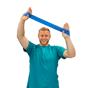 "men using the CanDo Band Exercise Loop - 10"" Long blue heavy"