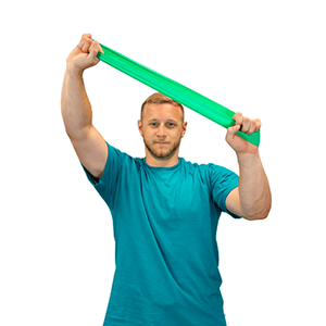 "men using the CanDo Band Exercise Loop - 10"" Long green medium"