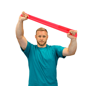 "men using the CanDo Band Exercise Loop - 10"" Long red light"