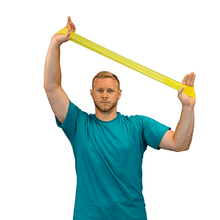 "Load image into Gallery viewer, men using the CanDo Band Exercise Loop - 10"" Long yellow x-light"
