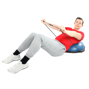 "men using the CanDo Core-Training Vestibular Dome (21"") with Resistance Cords"