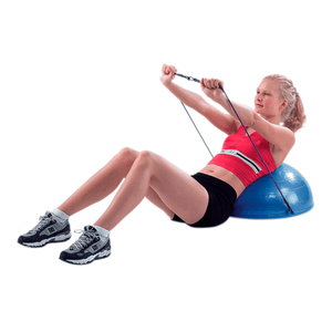 "girl using the CanDo Core-Training Vestibular Dome (21"") with Resistance Cords"