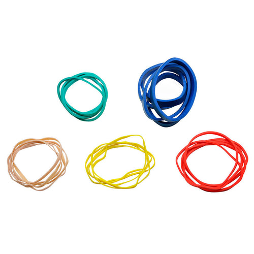 CanDo® Hand Exerciser - Additional Latex Free Rubber Bands - 25 bands (5 each: tan, yellow, red, green, blue)