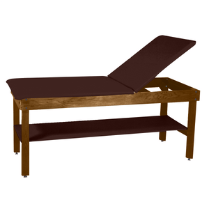 "Wooden Treatment Table - H-Brace Shelf, Adjustable Back Upholstered 72""L x 30""W x 30""H dark chestnut"