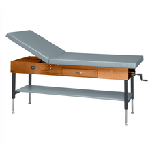 "Load image into Gallery viewer, Wooden Treatment Table - Manual Hi-Low Shelf - 78""L x 30""W x 25""-33""H dark dove"