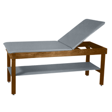 "Load image into Gallery viewer, Wooden Treatment Table - H-Brace Shelf, Adjustable Back Upholstered 72""L x 30""W x 30""H dark dove"