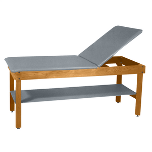 "Wooden Treatment Table - H-Brace Shelf, Adjustable Back Upholstered 72""L x 30""W x 30""H natural dove"