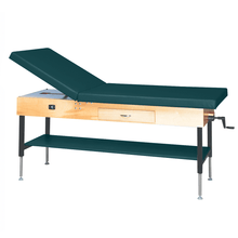 "Load image into Gallery viewer, Wooden Treatment Table - Manual Hi-Low Shelf - 78""L x 30""W x 25""-33""H drawer natural forest green"