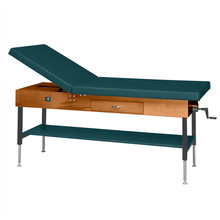 "Load image into Gallery viewer, Wooden Treatment Table - Manual Hi-Low Shelf - 78""L x 30""W x 25""-33""H dark forest green"