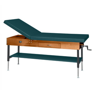 "Wooden Treatment Table - Manual Hi-Low Shelf - 78""L x 30""W x 25""-33""H dark forest green"
