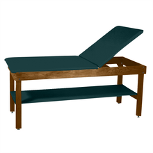 "Load image into Gallery viewer, Wooden Treatment Table - H-Brace Shelf, Adjustable Back Upholstered 72""L x 30""W x 30""H forest green dark"