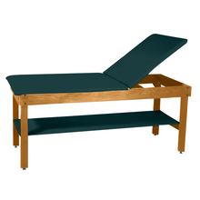 "Load image into Gallery viewer, Wooden Treatment Table - H-Brace Shelf, Adjustable Back Upholstered 72""L x 30""W x 30""H natural forest green"