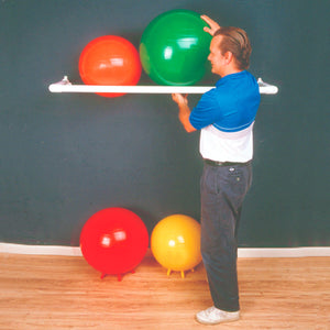"Cando® Inflatable Exercise Ball - Accessory - PVC Wall Rack with 1 Shelf -  64"" x 18"" x 2"""