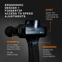 Load image into Gallery viewer, LifePro Sonic Handheld Percussion Massage Gun features: ergonomic, quiet and powerful