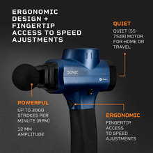 Load image into Gallery viewer, blue LifePro Sonic Handheld Percussion Massage Gun: ergonomic, quiet and powerful