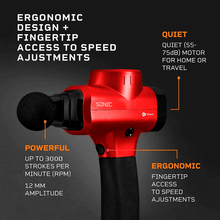 Load image into Gallery viewer, red LifePro Sonic Handheld Percussion Massage Gun: ergonomic, powerful and quiet