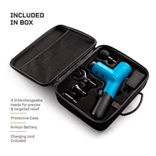Load image into Gallery viewer, what is included in the LifePro Sonic X Personal Percussion Massage Gun box: 4 interchangeable heads, protective case, battery and charging cord