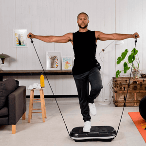 men using the LifePro Waver Vibration Plate Exercise Machine with Loop Bands