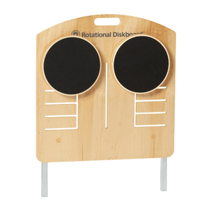 Merrithew Rotational Diskboard: light brown wooden table with two black rotational disks