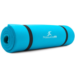 Prosource Extra Thick Yoga and Pilates Mat 1/2inch - High Density Mat and Carrying Strap aqua 1
