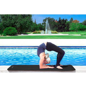 Prosource Extra Thick Yoga and Pilates Mat 1/2inch - High Density Mat and Carrying Strap black