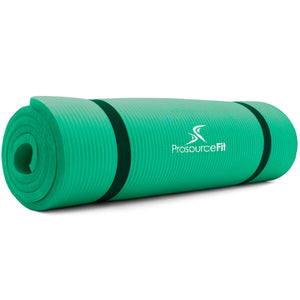Prosource Extra Thick Yoga and Pilates Mat 1/2inch - High Density Mat and Carrying Strap green