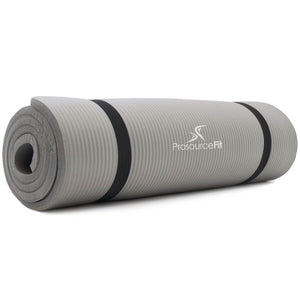 Prosource Extra Thick Yoga and Pilates Mat 1/2inch - High Density Mat and Carrying Strap grey