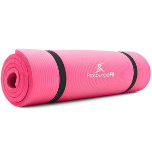Prosource Extra Thick Yoga and Pilates Mat 1/2inch - High Density Mat and Carrying Strap pink