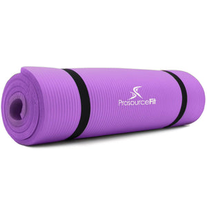 Prosource Extra Thick Yoga and Pilates Mat 1/2inch - High Density Mat and Carrying Strap purple