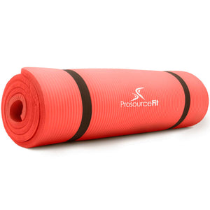 Prosource Extra Thick Yoga and Pilates Mat 1/2inch - High Density Mat and Carrying Strap red