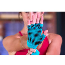 Load image into Gallery viewer, Prosource Grippy Yoga and Pilates Gloves - Non-Slip Fingerless Design Aqua