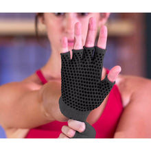 Load image into Gallery viewer, Prosource Grippy Yoga and Pilates Gloves - Non-Slip Fingerless Design Black