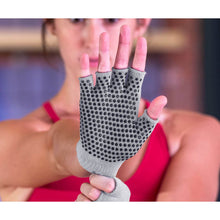 Load image into Gallery viewer, Prosource Grippy Yoga and Pilates Gloves - Non-Slip Fingerless Design Grey