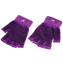 Load image into Gallery viewer, Prosource Grippy Yoga and Pilates Gloves - Non-Slip Fingerless Design Purple