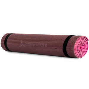 "Prosource Multi-Color Original Yoga Exercise Mat 1/4"" (6mm Thickness) brown pink"
