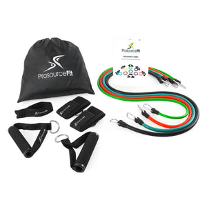Prosource Stackable Resistance Bands Set with Door Anchor, Ankle Straps, Extra Large Handles, and Carrying Case