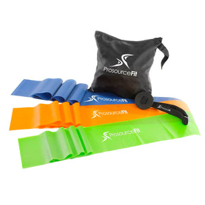 Prosource Therapy Flat Resistance Bands Set of 3 (6' each - Extra Long) with Door Anchor and Traveling Bag