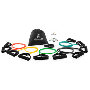 Prosource Tube Resistance Bands Set with Attached Handles, Door Anchor, Carrying Case and Exercise Guide
