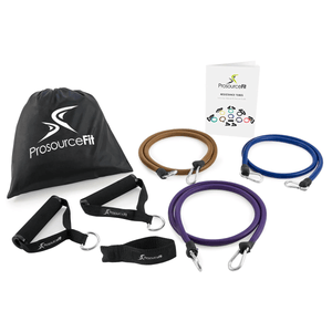 Prosource Xtreme Power Resistance Bands Set with Extra Large Handles, Door Anchor, Carrying Case, and Exercise Chart