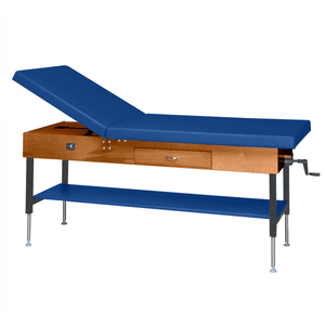 "Wooden Treatment Table - Manual Hi-Low Shelf - 78""L x 30""W x 25""-33""H dark royal blue"