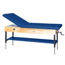 "Load image into Gallery viewer, Wooden Treatment Table - Manual Hi-Low Shelf - 78""L x 30""W x 25""-33""H drawer natural royal blue"