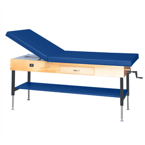 "Wooden Treatment Table - Manual Hi-Low Shelf - 78""L x 30""W x 25""-33""H drawer natural royal blue"