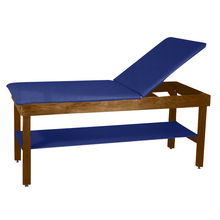 "Load image into Gallery viewer, Wooden Treatment Table - H-Brace Shelf, Adjustable Back Upholstered 72""L x 30""W x 30""H dark royal blue"