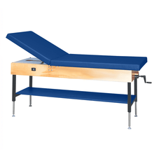 "Load image into Gallery viewer, Wooden Treatment Table - Manual Hi-Low Shelf - 78""L x 30""W x 25""-33""H without drawer natural royal blue"
