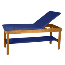 "Load image into Gallery viewer, Wooden Treatment Table - H-Brace Shelf, Adjustable Back Upholstered 72""L x 30""W x 30""H natural royal blue"