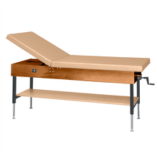 "Load image into Gallery viewer, Wooden Treatment Table - Manual Hi-Low Shelf - 78""L x 30""W x 25""-33""H without drawer dark sand"