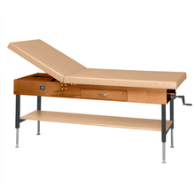 "Load image into Gallery viewer, Wooden Treatment Table - Manual Hi-Low Shelf - 78""L x 30""W x 25""-33""H dark sand"