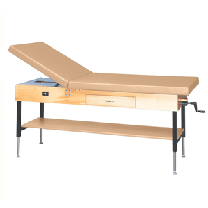 "Wooden Treatment Table - Manual Hi-Low Shelf - 78""L x 30""W x 25""-33""H drawer natural sand"
